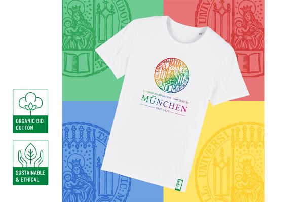 """""""Die LMU ist bunt"""" – T-Shirt mit Siegel Unisex"""
